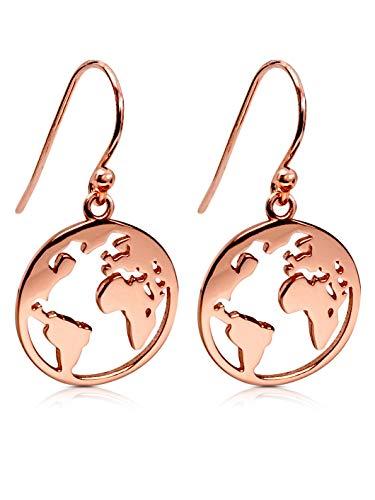 VIASOUL® Ohrringe Weltkarte I Welt Ohrring aus 925er Silber I Mit 585er Gold überzogen I Die Original Weltkugel Ohrringe (Rose)
