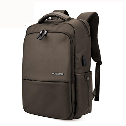 beibao shop Backpack Sac à Dos pour Ordinateur Portable 18 Pouces Imperméable Tissu d'Oxford Entreprise Décontractée Backpack avec Port de Chargement USB, Brown