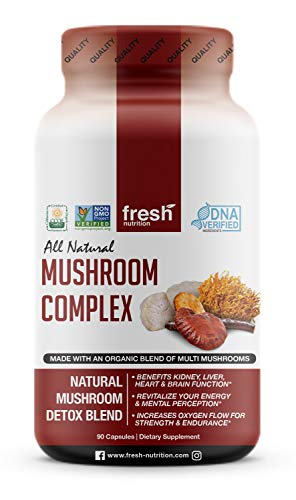 Organic Mushroom Supplement Complex- Strongest DNA Verified - AHCC Rich in Alpha Glucan - Special Immune System Support Edition - Nootropic Brain Booster with Cordyceps, Lions Mane & Reishi Mushrooms