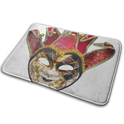 Kcmical Alfombrilla Lavable Antideslizante para la Puerta, Alfombrilla para Puerta al Aire Libre, Alfombra de Cocina, mscara de Joker de Teatro Disfraz de Carnaval de Campanas venecianas