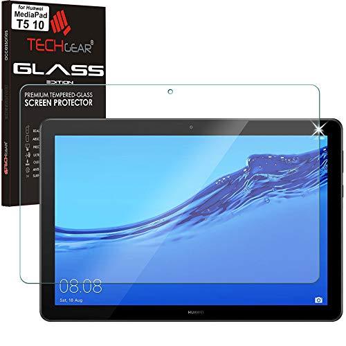 """vetro temperato tablet 10.1 TECHGEAR Vetro Temperato Compatibile con Huawei MediaPad T5 10 (10.1"""" Schermo) - Autentica Pellicola protecttiva in Vetro Temperato Salvaschermo per Il Huawei Mediapad T5 10"""" Tablet"""