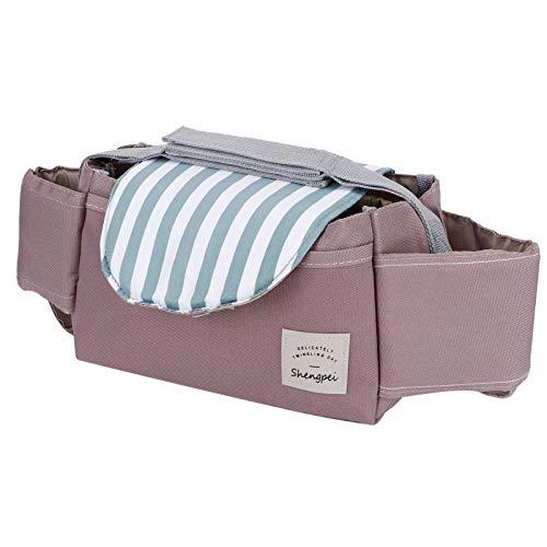 Velaurs Universal Stroller, Oxford Cloth Baby Stroller Organizer, für Kinderwagen im Freien(Mint Stripes)
