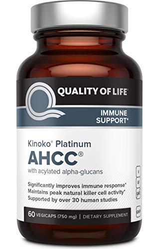 Quality of Life | Kinoko Platinum AHCC | Immun-Unterstützung | 750 mg | 60 vegane Kapseln | glutenfrei | sojafrei
