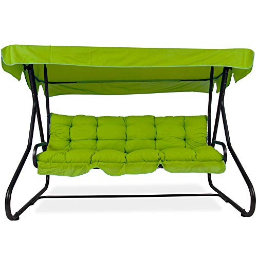 PATIO Hollywoodschaukel Gartenschaukel Milano 3-Sitzer klappbar Liegefunktion D001-12BB 170 cm (Baumwolle, grün)