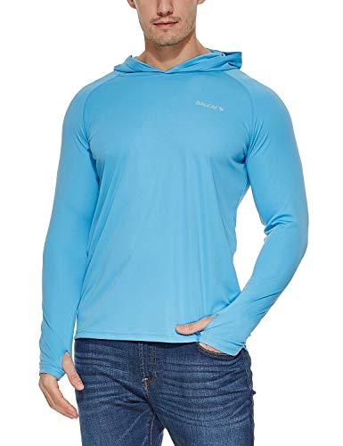 BALEAF Men's UPF 50+ Sun Protection Hoodie Long Sleeve SPF/UV Quick Dry Lightweight Fishing Workout Thumbholes Shirt Blue M