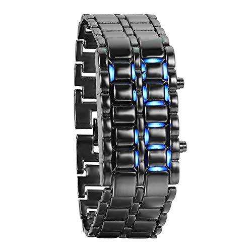 JewelryWe Herren Armbanduhr, Blau LED Digitaluhr Uhr Sportuhr Schwarz Armband Unisex Samurai Watch