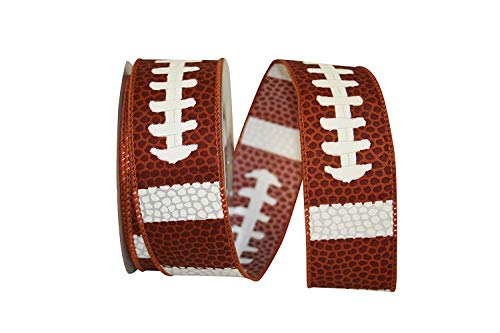 Football Pigskin Fabric Wired Ribbon #9-1.5