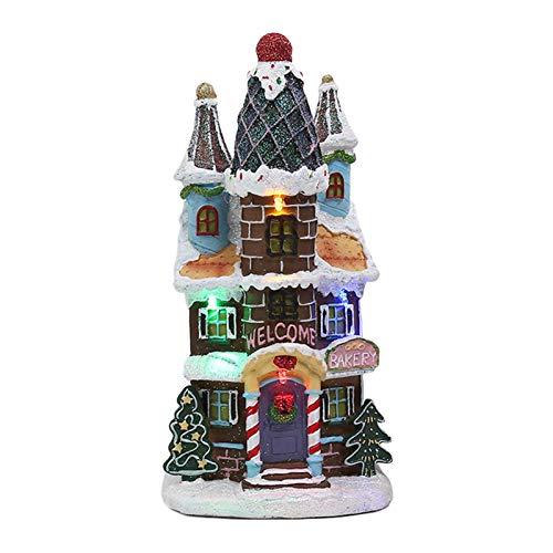 Applyvt Weihnachts Miniatur Haus Beleuchtet, Weihnachtsstadt Weihnachtsdorf Deko Mit Beleuchtung, Weihnachtshaus Weihnachts Dekoration Innovative Cottage-Verzierung