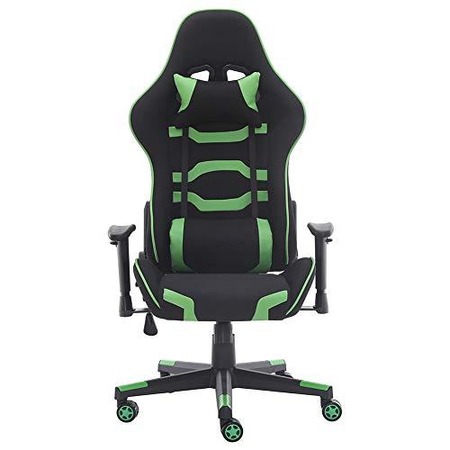 Sedia da gaming per adulti con poggiatesta e cuscino lombare, per casa (Green 02)