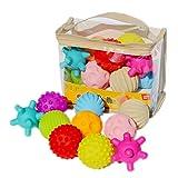 QiKun-Home 10pcs Bolas sensoriales Suaves Bolas de Masaje de Captura de Mano para bebés con Efecto de Sonido BB Bolas de Agarre Juguetes educativos para niños Bebé Multicolor
