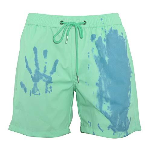 Ouduo Cambia Colore Spiaggia Pantaloncini Uomini, Estate Asciugatura Rapida Pantaloncini Nuoto Costume da Bagno per Sport, Spiaggia, Nuoto Festa (Verde,L)