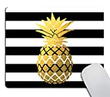 Smooffly Faux Gold Foil Pineapple Mouse Pad, Black and White Stripes Mouse Pad, Personalized Mouse Pad