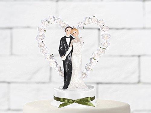 cama24com Hochzeitsfigur Brautpaar Tortendeko Tortenfigur mit Rosenherz Palandi®