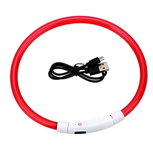 ZNUK USB for Mascotas Collar de Perro Recargable LED Parpadeante Resplandor Luminoso Que Brilla Collares de Perro Noche (Color : Red)