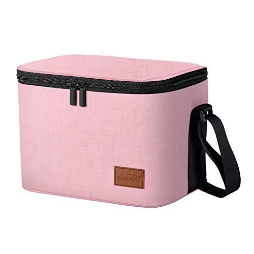 Aosbos Borsa Termica Pranzo al Sacco,Portatile Borsa Frigo Pranzo Lunch Bag per Donne, con Rivestimento Isolante, Ideale per Picnic/Pesca/Scuola/Lavoro