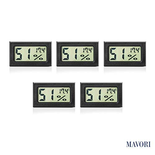MAVORI® Digital Mini Innen Thermometer Hygrometer - Raumthermometer und Luftfeuchtigkeitsmessgerät für Wohn- und Büroräume, Keller, Terrarium, Auto (5 Stck.)