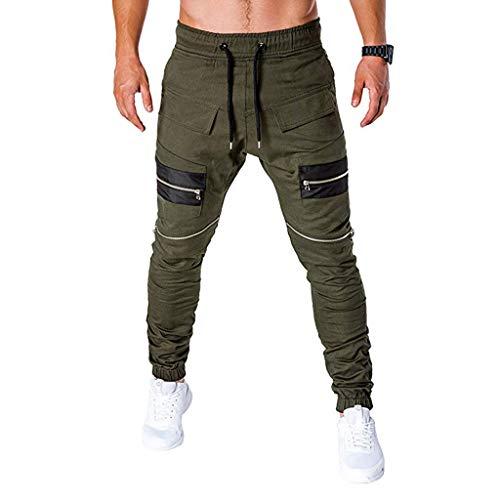 Deelin heren joggingbroek, elastische taille, koord, joggingbroek, ritssluiting, leer, patchwork, sportbroek, slim, heren, fitness, lange broek