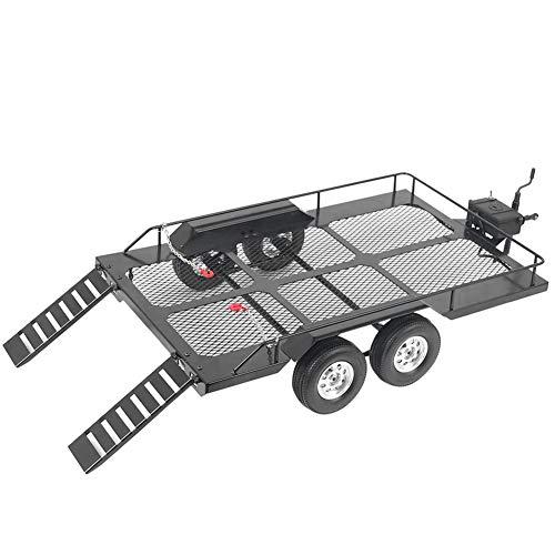 Aukson RC Trailer, Metallanhänger Modell RC Trailer Zubehör Trail Car Toy mit Vier Anti-Rutsch-Reifen Passend für RC4WD TRX4 1/10 RC Car