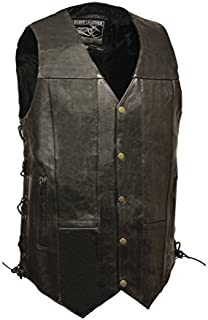 Event Leather Men's 10 Pocket Vest (Black, 4X-Tall) (SINGLE PANEL BACK, 4) by EVENT LEATHER