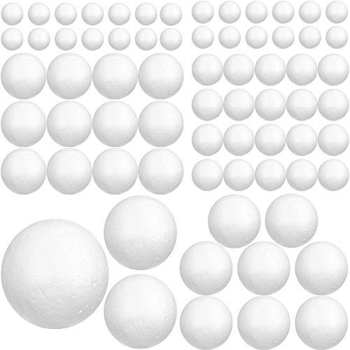 Styropor Kugeln (88 Stk) - Weiße Styroporkugeln verschiedene Größen zum Basteln, DIY, Kunst – Polystyrol Bälle für Hobby, Haushalt, Schulprojekte, Schule, Dekoration (8cm, 6cm, 5cm, 4cm, 3cm, 2cm)