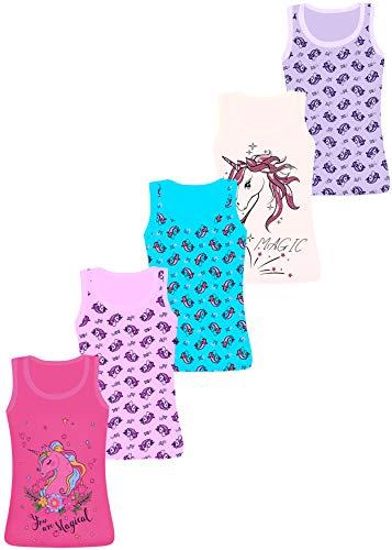 LOREZA ® 5 Stück Mädchen Baumwolle Unterhemden Tank Top - 104-110 (4-5 Jahre) - Modell 6