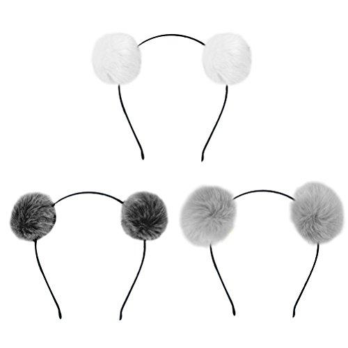 Frcolor Fuzzy Pom Pom Ball Haarkranz Katze Ohr Stirnband für Kinder Mädchen 3 STÜCKE (Schwarz + Weiß + Dunkelgrau)