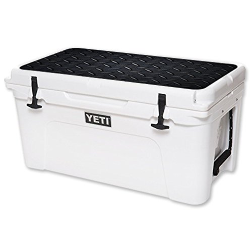 MightySkins (Cooler Not Included) Skin Compatible with YETI Tundra 65 qt Cooler Lid wrap Cover Sticker Skins Black Diamond Plate