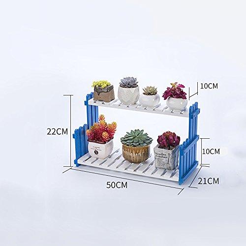 Global- Bleu et blanc Couches multiples Matériaux de pin Style de sol Style étagères à fleurs, jardin Chambre Balcon Fenêtre Bureau Salon Couloir étagère à fleurs (taille : Length 50 cm)