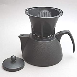 南部鉄器 岩鋳 コーヒーポット・セット(黒) ドリッパー、茶こしアミ付