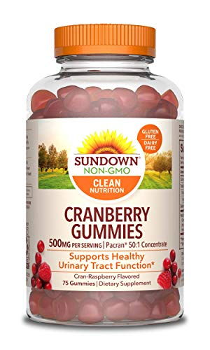 Cranberry Gummies by Sundown, Dietary Supplement, Supports Urinary Tract Health, 500mg, Cran-Raspberry Flavored, 75 Count