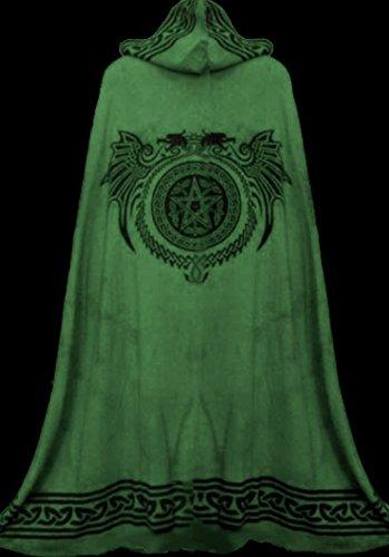 Dark Dreams Mittelalter Gothic Ritual Umhang Celtic Spirit, Größe:freesize;Farbe:schwarz/grün - 2