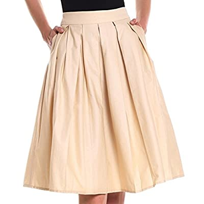 Yige Women's Vintage A-line Printed Pleated Flared Skirts