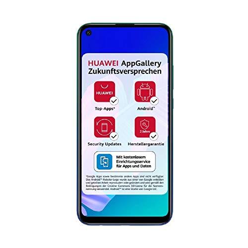 HUAWEI P40 lite E Dual-SIM Smartphone BUNDLE (16,23cm(6,39 Zoll), 64 GB ROM, 4 GB RAM, Android 9 AOSP ohne Google Play Store, EMUI 9.1.1) Aurora Blue [Exklusiv +5 EUR Amazon Gutschein]