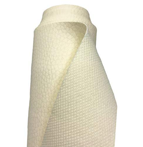 A-Express Tela de grano de cuero de imitación material texturizado por tapizar, Polipiel, Manualidades, vinilo, Cojines o forrar Objetos - Crema 1 Metro 100cm x 140cm