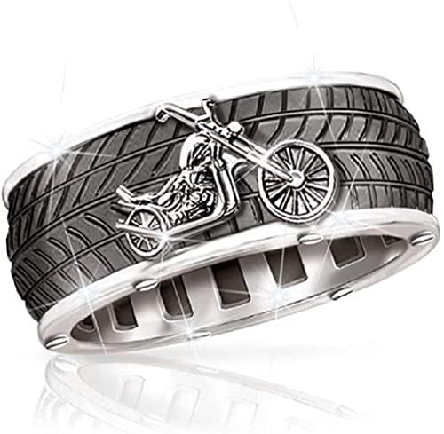 YFGlgy Anillo De Motocicleta Viking Ring para Hombre, Anillo De Motocicleta con Banda De Rodadura, Anillo De Motociclista para Hombre, Anillo De Ranura, Anillo De Hip Hop, Anillo De Punk Rock,12