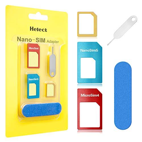Helect SIM Karten Adapter für Smartphones, 5 in 1 Nano Micro Standard Adapter Kit Converter mit Sander Bar und Fach Nadel
