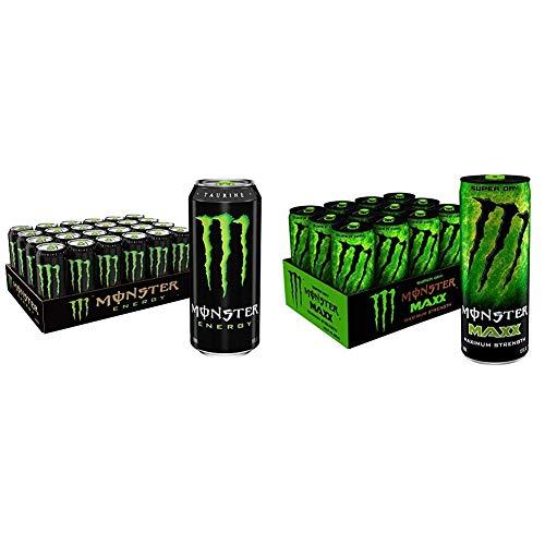 Monster Energy Drink, Green, Original, 16 Ounce (Pack of 24) & MAXX Monster Super Dry, Maximum Strength, Energy Drink, 12 ounce (Pack of 12)