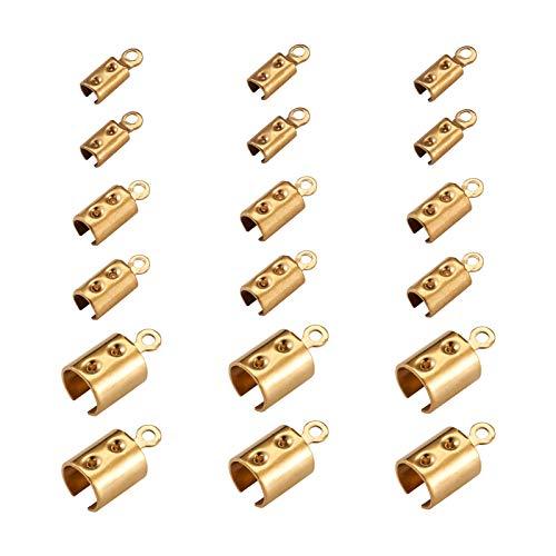 PandaHall 60 extremos de cordón de acero inoxidable plegable en 3 tamaños de cierre de cinta de cuero terminadores de cierre de terminadores para pulseras, collares y joyas, color dorado