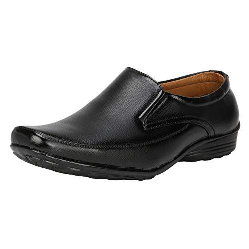 Kraasa Men Synthetic Leather Office Black Formal Shoes Slip On for Men Black UK 8