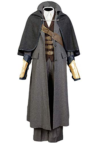 Men's Halloween Cosplay Costume Bloodborne Costume Whole Set Outfit,Small Grey
