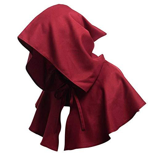 GLXQIJ Mittelalterliches Kostüm Kapuzenshirt Halloween Capelet Cosplay Kostüm Umhang Cape Für Damen Und Herren,Red,OneSize