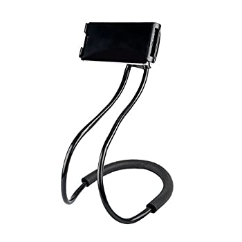 Lazy Neck Phone Holder for Bed Desk Bike Car,Around The Neck Cell Phone Mount for iPhone X/8/7Plus/6/Samsung Galaxy S8 Plus/S7/S5  Black