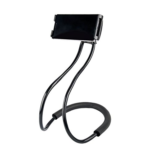 Lazy Neck Phone Holder for Bed Desk Bike Car,Around The Neck Cell Phone Mount for iPhone X/8/7Plus/6/Samsung Galaxy S8 Plus/S7/S5 (Black)