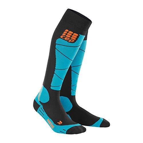 CEP – SKI MERINO SOCKS, Skisocken in schwarz / blau, Größe II für Damen, Kompressionsstrümpfe made by medi