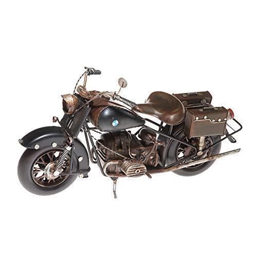 Pamer-Toys Modelo de moto de chapa – en estilo retro vintage – Moto con alforjas – Color negro...