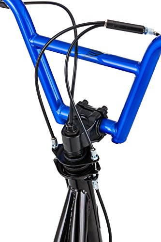 Mongoose Expo Scooter, Featuring Front and Rear Caliper Brakes and Rear Axle Pegs with 12-Inch Inflatable Wheels, Black/Blue