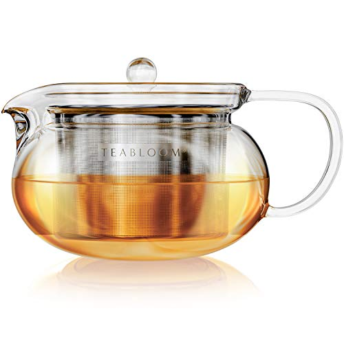 Teabloom Kyoto Stovetop Safe Teapot – LeadFree and CadmiumFree Clear Borosilicate Glass – Removable Stainless Infuser – Stovetop and Microwave Safe – 23 Cup Capacity / 24 oz / 700 ml