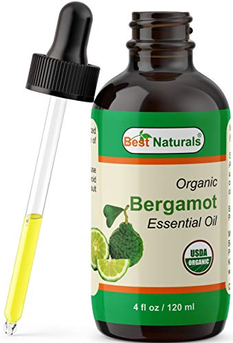 Best Naturals Certified Organic Bergamot Essential Oil with Glass Dropper Bergamot 4 FL OZ (120 ml)