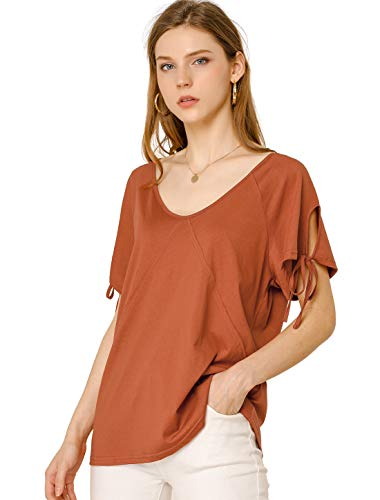 Allegra K Women's V Neck Raglan Short Sleeve Casual Loose Top Cotton T...
