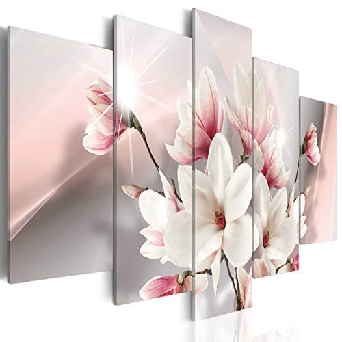 decomonkey Bilder Blumen Magnolien 200x100 cm 5 Teilig Leinwandbilder Bild auf Leinwand Wandbild Kunstdruck Wanddeko Wand Wohnzimmer Wanddekoration Deko Abstrakt